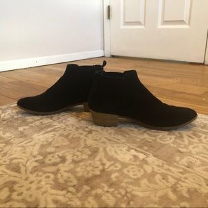 Black Block Heeled Suede Ankle Booties - Size 7.5